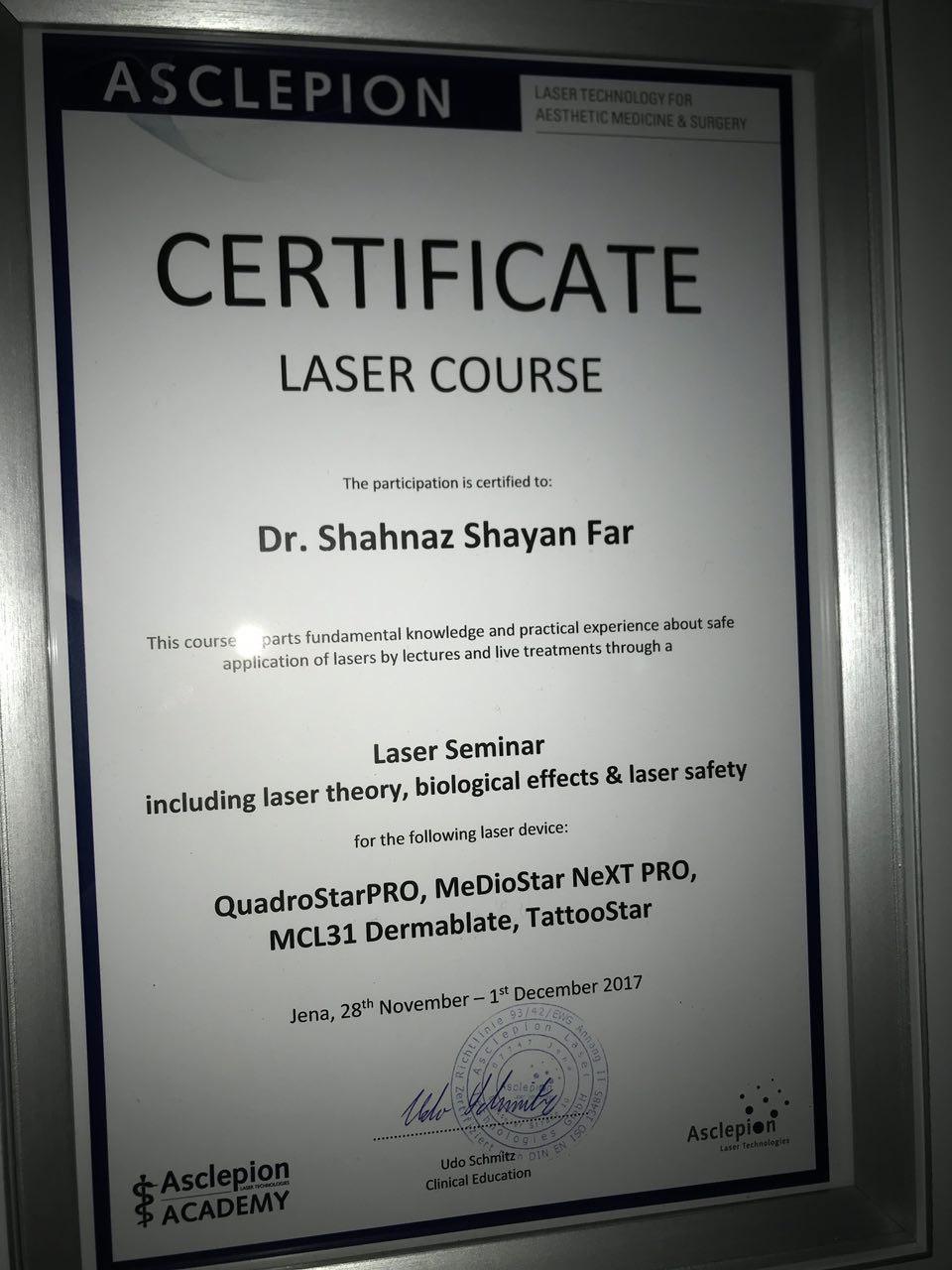 گواهی نامه دوره لیزر دکتر شایان فر
